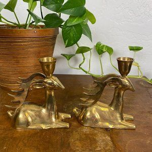 Vintage Mid Century Modern Brass Candlestick Holde